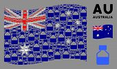 Waving Australia Official Flag. Vector Liquid Bottle Elements Are Organized Into Geometric Australia poster