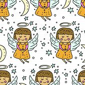 Winter Seamless Vector Pattern. Christmas Doodle Cartoon Illustration With Cute Baby Angel Among Sta poster