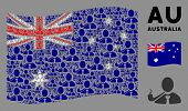 Waving Australia Flag. Vector Smoking Detective Icons Are Organized Into Mosaic Australia Flag Compo poster