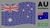 Waving Australia State Flag. Vector Eco Texts Are Organized Into Mosaic Australia Flag Illustration. poster