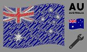 Waving Australia Flag. Vector Spanner Design Elements Are Formed Into Conceptual Australia Flag Coll poster