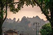 Stunningly Beautiful Rocky Karst Mountain Formations As Seen From The Centre Of Wulingyuan Town, Hun poster