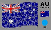Waving Australia Official Flag. Vector Electric Bulb Icons Are Organized Into Mosaic Australia Flag  poster