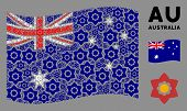 Waving Australia Flag. Vector Flower Elements Are Combined Into Mosaic Australia Flag Collage. Patri poster