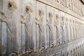 Ancient wall with bas-relief with assyrian warriors with spears, Persepolis, Iran. UNESCO world heri poster