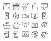 20 Shopping Icons. E-commerce Line Icon Set. Vector Illustration. Editable Stroke. poster