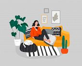 Girl Girl Sitting And Resting On The Couch With A Cat And Coffee. Daily Life And Everyday Routine Sc poster
