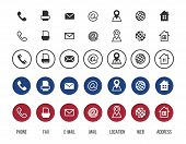 Contact Icons. Business Card Vector Symbols Collection. Information Icons, Location, Address, Mail,  poster