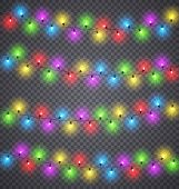 Light Garlands. Christmas Festive Color Lighting Decoration With Light Bulbs On Wires. Winter Holida poster