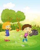 picture of hopscotch  - Cartoon of children playing hopscotch  - JPG