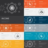 Income Infographic 10 Line Icons Banners. Save Money, Profit, Investment, Profitability Simple Icons poster