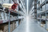 Cctv. Security Camera Motion Detect System Operating In Warehouse Interior With Product On Shelves I poster