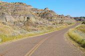 Makoshika State Park road and badlands