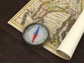 alte Karte und Kompass auf den Tisch