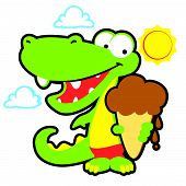 Vector Gator with Ice Cream Cone