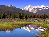 Rocky Mountain Landscape with River and Snow Peaks