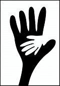Helping hands cartoon