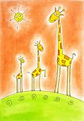 Three happy giraffes child's drawing watercolor painting on paper