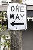 An image of a one way sign in Sydney Australia