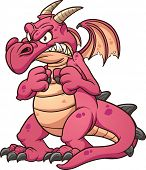 Angry cartoon red dragon. Vector clip art illustration with simple gradients. All in a single layer.