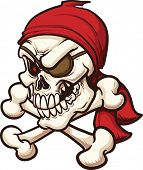 Pirate skull. Vector clip art illustration. All in a single layer.
