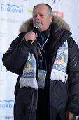 BUKOVEL, UKRAINE - FEBRUARY 23: FIS Race Director Reinhard Krampfl says the final speech during Freestyle Ski World Cup in Bukovel, Ukraine on February 23, 2013.