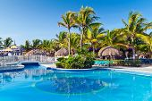 PLAYA DEL CARMEN, MEXICO - JULY 16: Scenery of luxury swimming pool at RIU Yucatan Hotel on July 16,