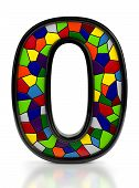 Number 0 symbol with multicolored mosaic tiles, isolated on white background.