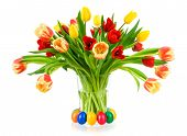 Gorgeous Bouquet Of Tulips In A Vase