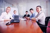 business people group have video meeting conference  at office