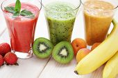 image of fruit shake  - various fruity shakes with fresh fruits  - JPG