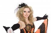 Постер, плакат: Молодая красивая сексуальная девушка блондинка танцует Канкан