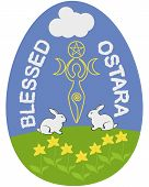 stock photo of ostara  - Ostara or Wiccan Spring Equinox Sabbath egg - JPG