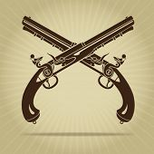 Vintage Crossed Flintlock Pistols