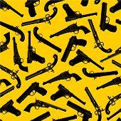 Handgun Silhouettes Seamless Pattern