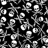 Pirate Skulls with Crossed Swords Seamless Pattern in Black & WHite