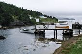 Dory Boats Tied to Dock of Ocean Inlet, Newfoundland