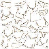 Female Underwear Icons Set