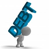 Debt Word And 3D Character Showing Bankruptcy And Poverty