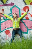 Girl On Graffiti Background