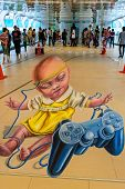 Bangkok - March 3 : 3D Illusionary Painting By Leon Keer Artist In Living Arts @ Ratchaprasong Stree