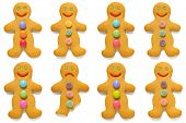 Smiling gingerbread men with one exception, isolated on a white background.