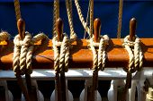 picture of tall ship  - Ropes of a wooden and old tall ship - JPG