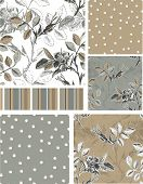 stock photo of taupe  - Grey Rose Floral Vector Seamless Patterns - JPG