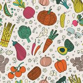 Bright tasty seamless pattern with green peas, eggplant, potato, carrot, pumpkin, avocado, leek, radish, pepper, cherry tomato, champignon, onion and other vegetables