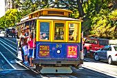 Cable Car Passes The Powell Street In Rush Hour