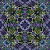 art nouveau geometric ornamental vintage pattern in violet and green colors