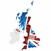 stock photo of union  - Map of the UK with the Union Jack flag - JPG