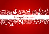 image of christmas bells  - Christmas decorations elements and ornaments over red postcard background - JPG