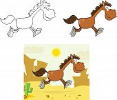 Smiling Horse Character Running  Collection Set